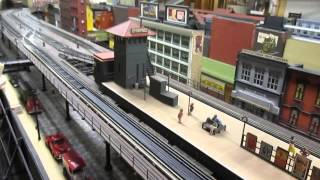 Joe F O-scale 3rd Ave Elevated Train Layout with Work Train & IRT Elevated Train