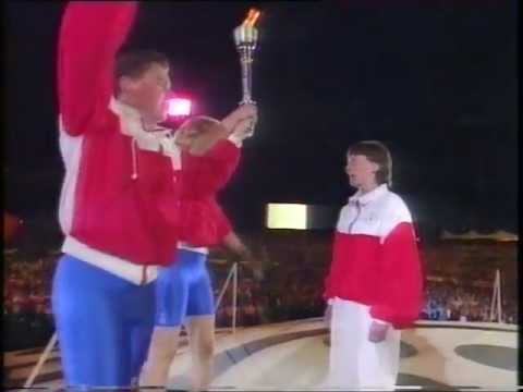 Sheffield World Student Games, Don Valley Stadium - Helen Sharman  Drops Flame (Full Version)