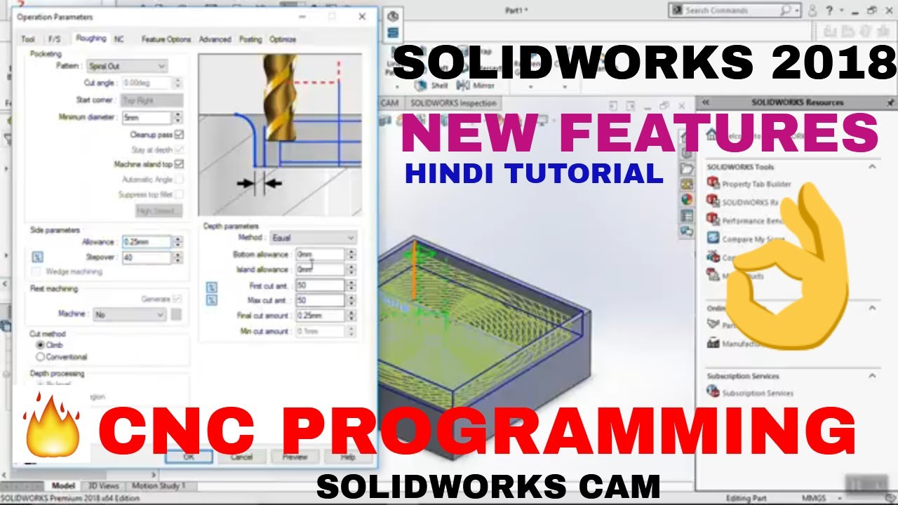 CNC PROGRAMMING SOLIDWORKS CAM IN SOLIDWORKS 2018 | SOLIDWORKS CAM MILLING  OPERATION| SOLIDWORK CAM