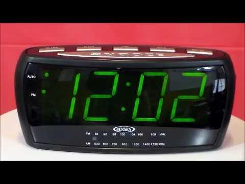 jensen jcr 208 large display am fm alarm clock radio youtube. Black Bedroom Furniture Sets. Home Design Ideas