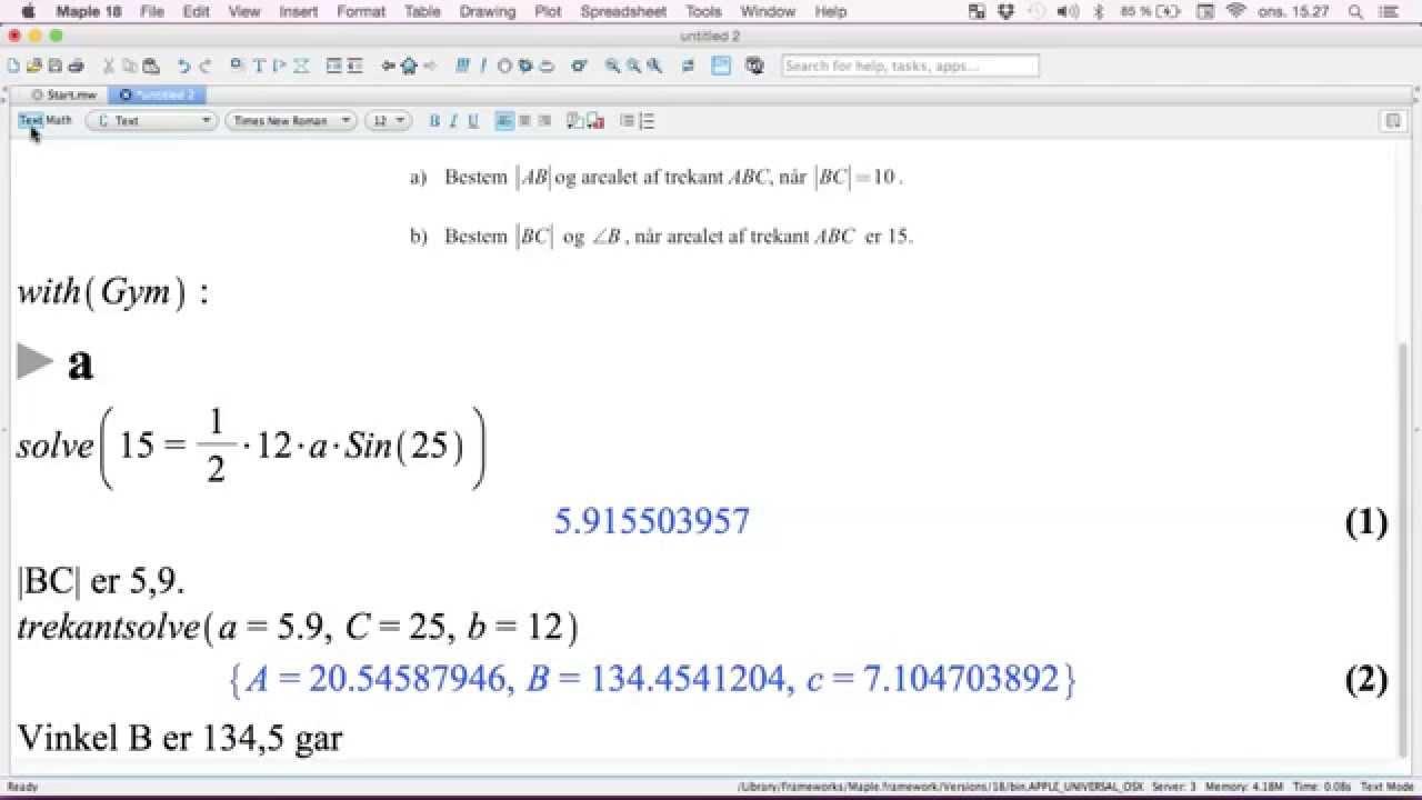 Trigonometri L12 - Beregninger i trekanter med Maple