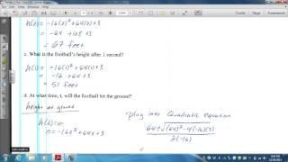 Algebra 2 Test #3 free response #4