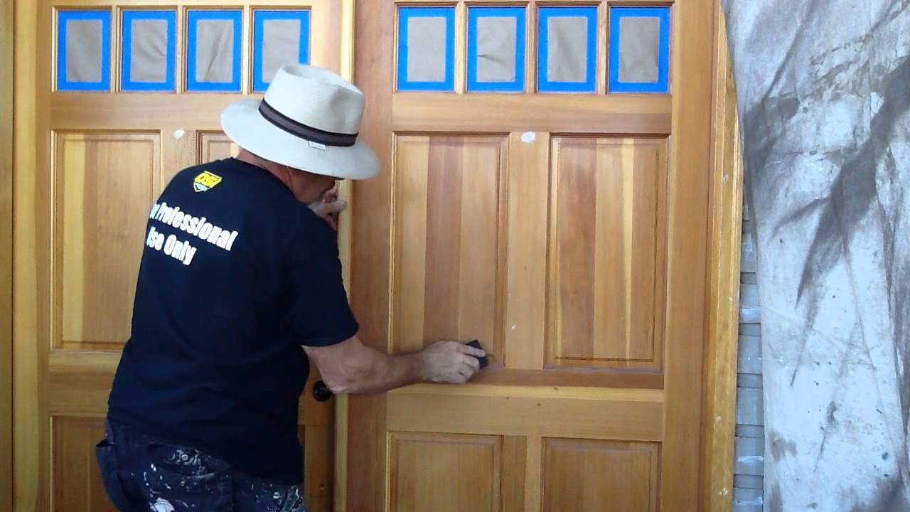 First step in painting a previously stained door & First step in painting a previously stained door - YouTube