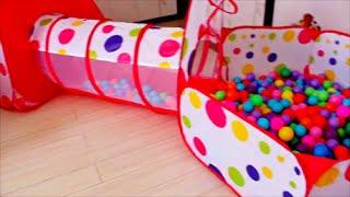 Палатка-домик с туннелем и сухим бассейном + 500 шаров для детей из Китая. Подарок на день рождение.(Обзор палатки с туннелем и сухим бассейном для нашей подружки Кати, которой исполнилось 2 годика. Замечател..., 2016-05-05T07:24:47.000Z)