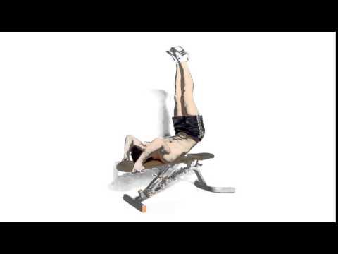 abs flat bench lying leg raises