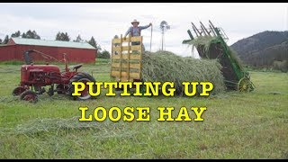 Putting up Loose Hay with Farmall Cub, John Deere Hayloader