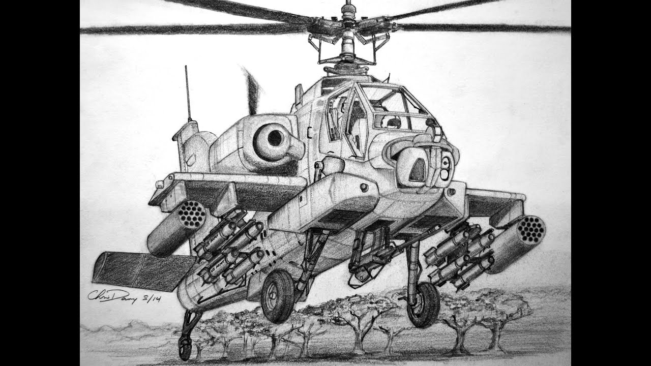 How To Draw An Apache Helicopter Youtube