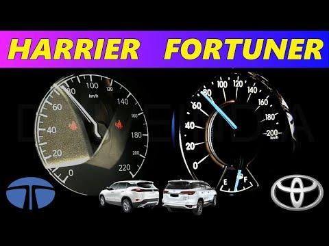 Tata Harrier vs Toyota Fortuner 0-100 Acceleration test