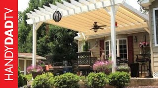 This curved pergola is the highlight of our back yard. It is a beautiful structure that makes our patio feel like an outdoor room from