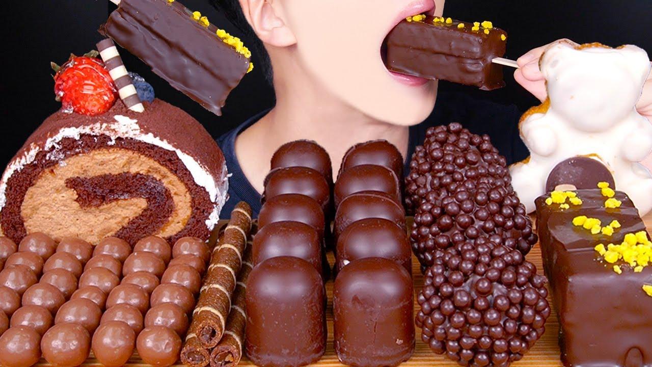ASMR MALTESERS MAGNUM CHOCOLATE CAKE MASHMALLOW NUTELLA DESSERT MUKBANG 초콜릿 먹방 チョコレート EATING SOUNDS