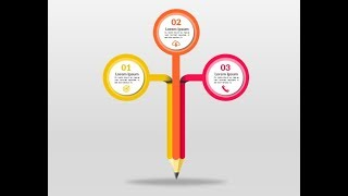 Pencil infographic in Microsoft PowerPoint. PPT tricks.