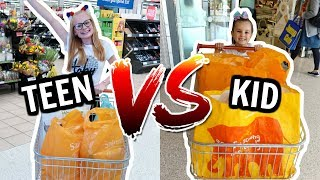 TEEN vs KID: GROCERY SHOPPING CHALLENGE!! 🛍️