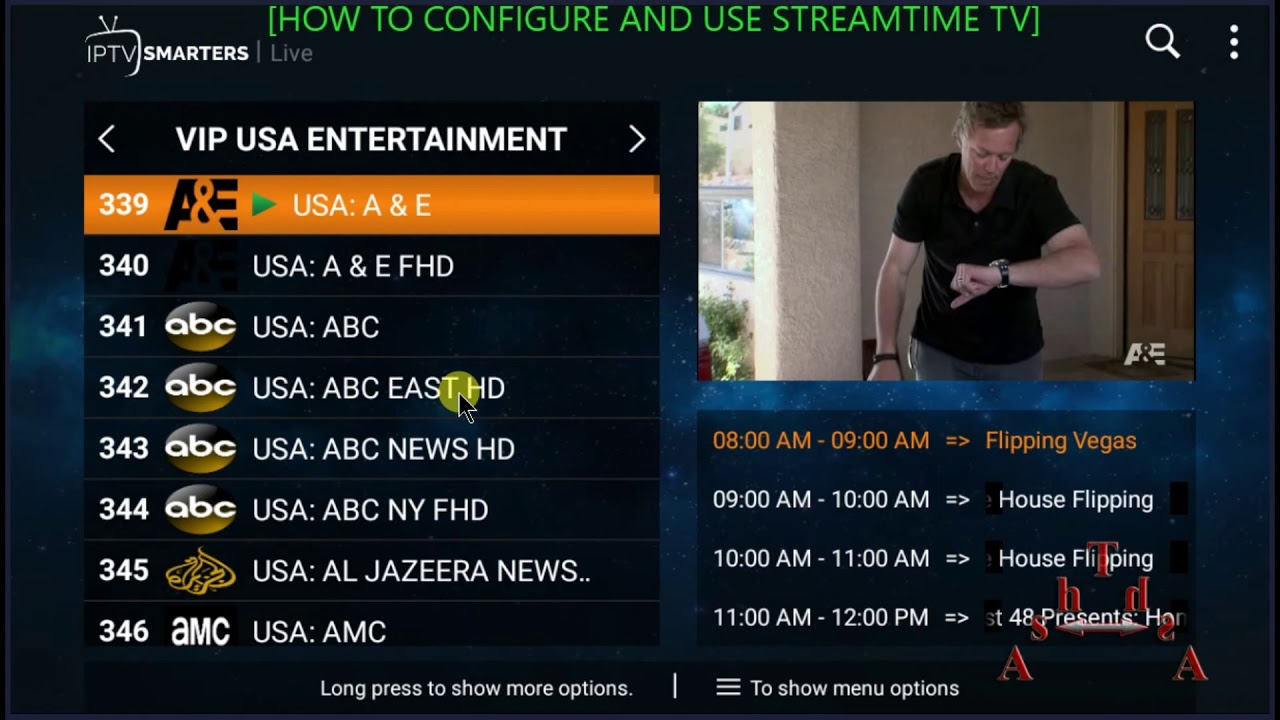 How to configure and use Streamtime TV app features