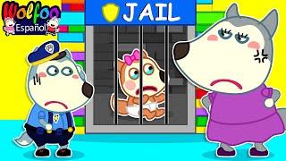 Wolfoo Finge Jugar Policía y cierres al bebé Lucy en la Colorida Cárcel de Lego | Wolfoo en español