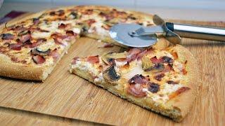 Carbonara Pizza With Mushrooms - Easy Bacon, Onion & Mushroom Pizza Recipe