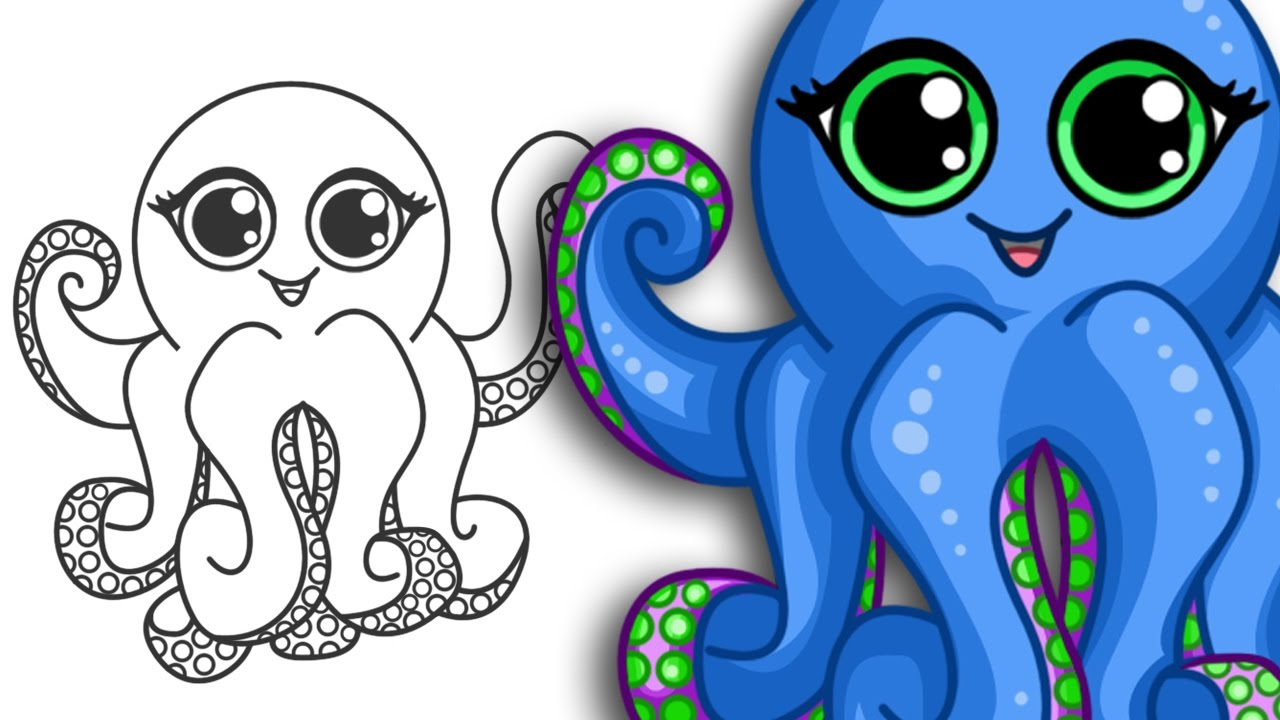 How to draw an Octopus Super cute Easy Step By Step Drawing