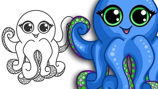 How to draw an Octopus | Super cute & Easy | Step By Step Drawing