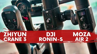 BATTLE! ZHIYUN CRANE 3 LAB vs DJI RONIN S vs MOZA AIR 2 COMPARISON