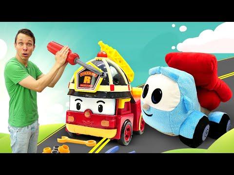 Мультики про машинки для детей. Грузовичок Лева, Робокар Поли и Рой на стройке. Приключения игрушек