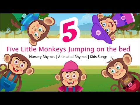 Five little monkeys jumping on the bed | Nursery Rhymes ...