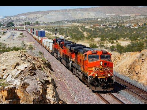 Train Fire! - Trains through the windy Cajon Pass.