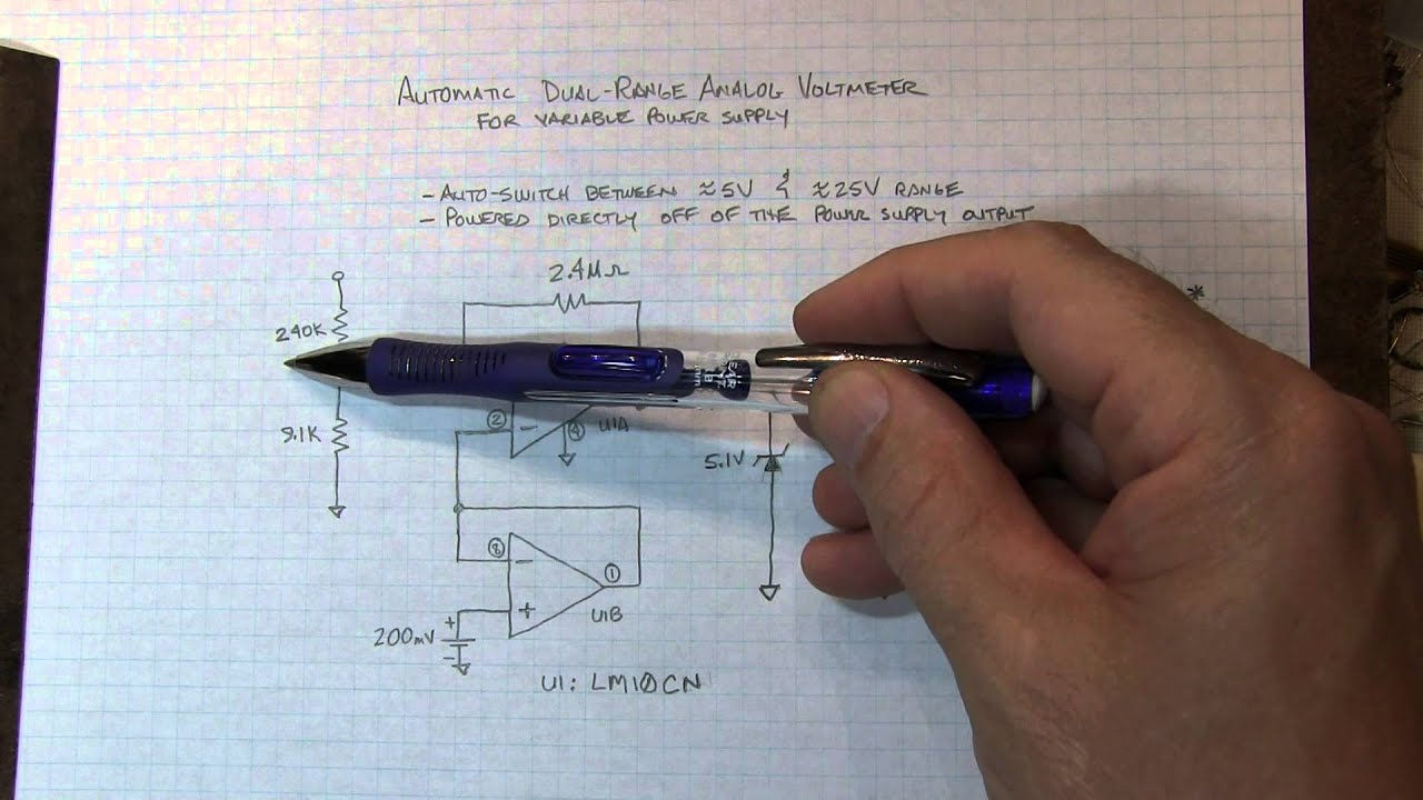 155 circuit fun auto ranging analog voltmeter for a variable power rh youtube com Simple Schematic Diagram Wiring- Diagram