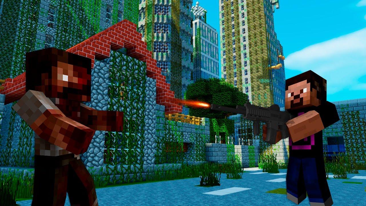 игры майнкрафт выживание в городе зомби #8