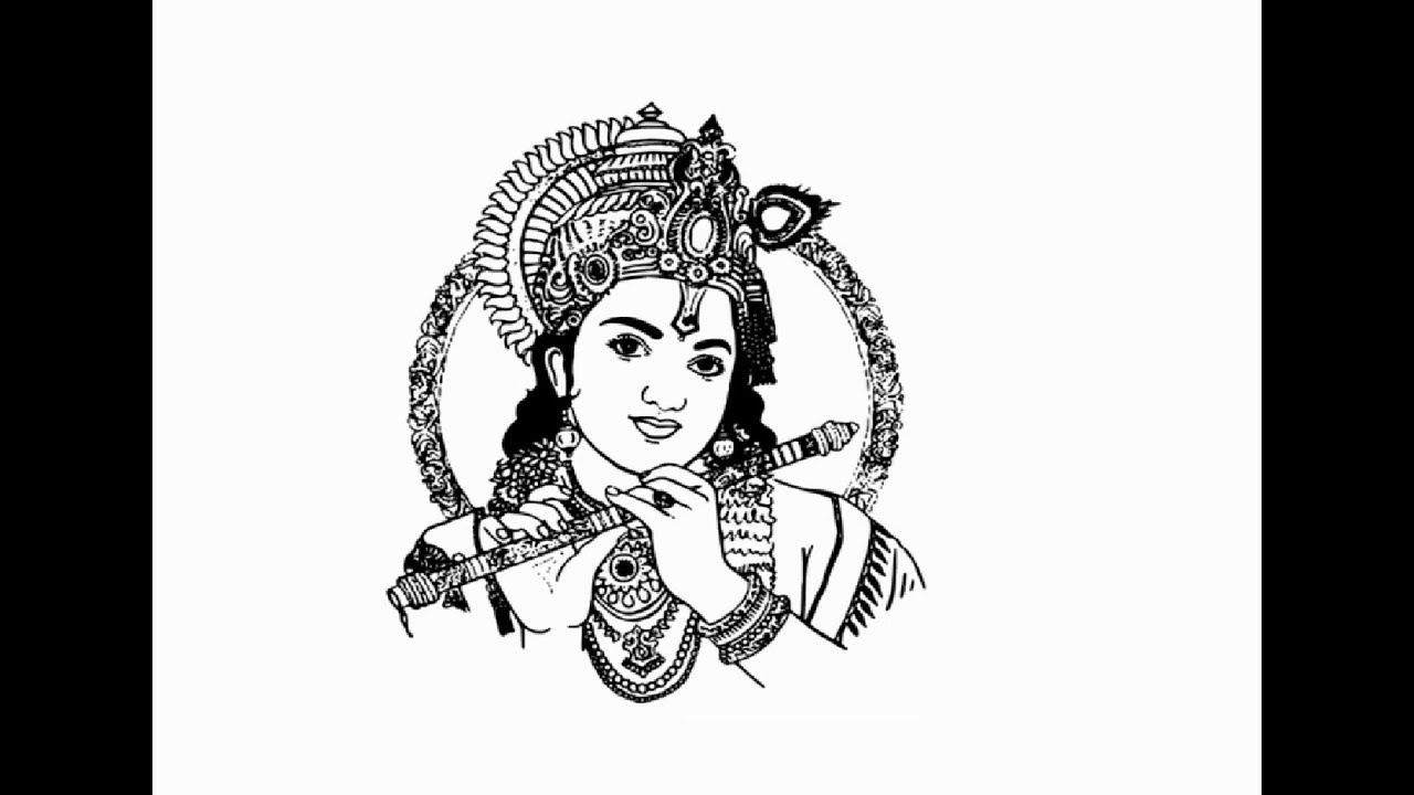How To Draw Lord Krishna With Flute Pencil Drawing Step By Step