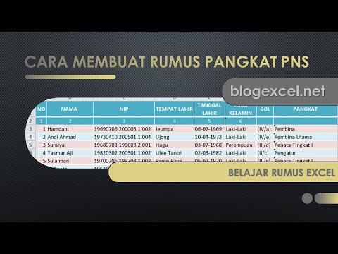 Cara Membuat Rumus Pangkat PNS di Excel