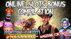 Online slots bonus compilation - Wagering continued - Rise of Merlin, Book Of Ra, Genie Megaways
