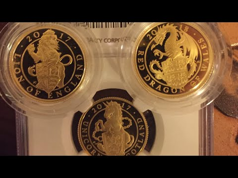 Proof 1/4oz Gold Queen's Beasts Lion , Unicorn and Dragon ..