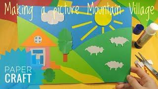Paper crafts for kids Summer collage Art class project idea for kindergarten