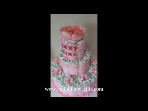 Elegant Baby Girl Diaper Cake