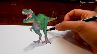 Amazing Anamorphic Drawing 3D Illusion #4: T-Rex