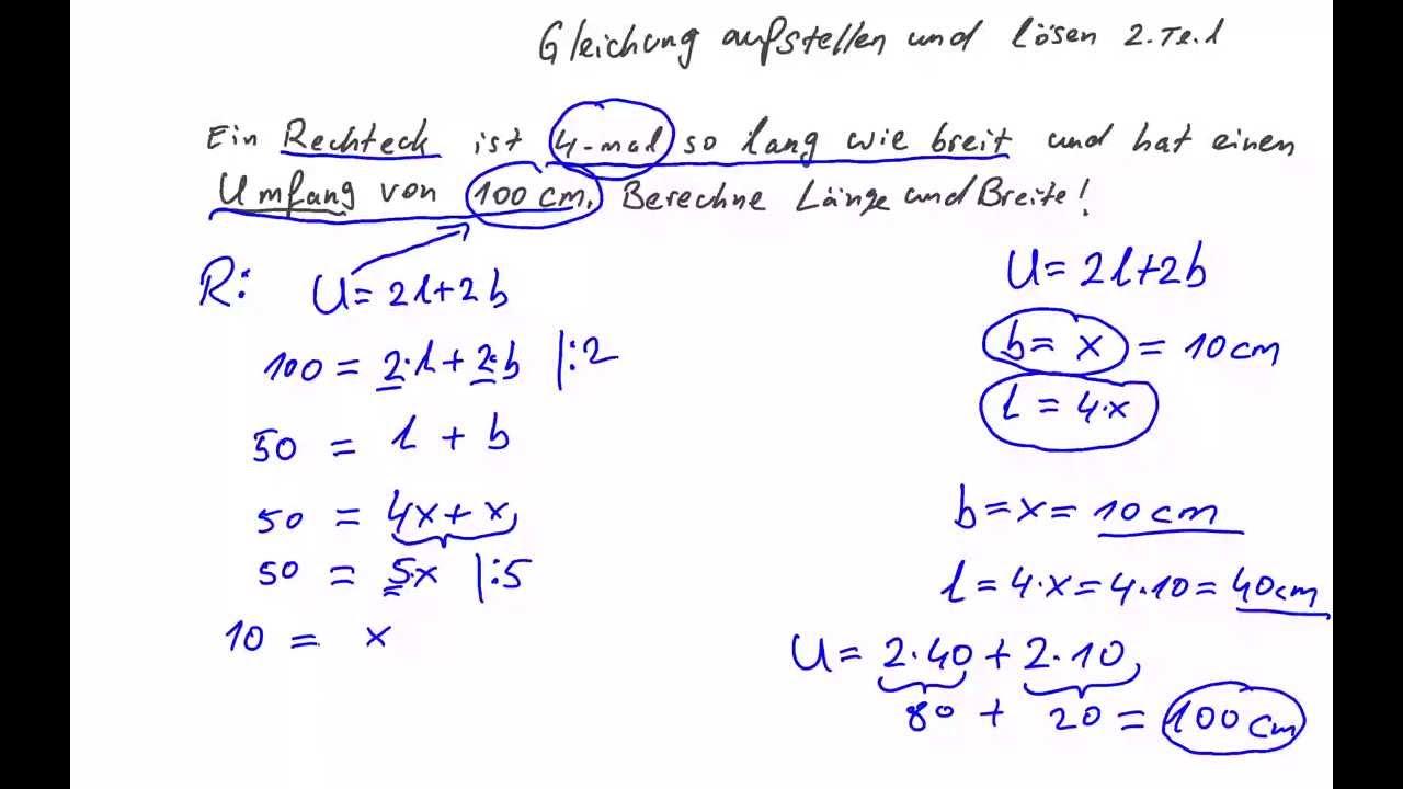 Gleichung aus Textaufgabe aufstellen und lösen- Umfang eines ...