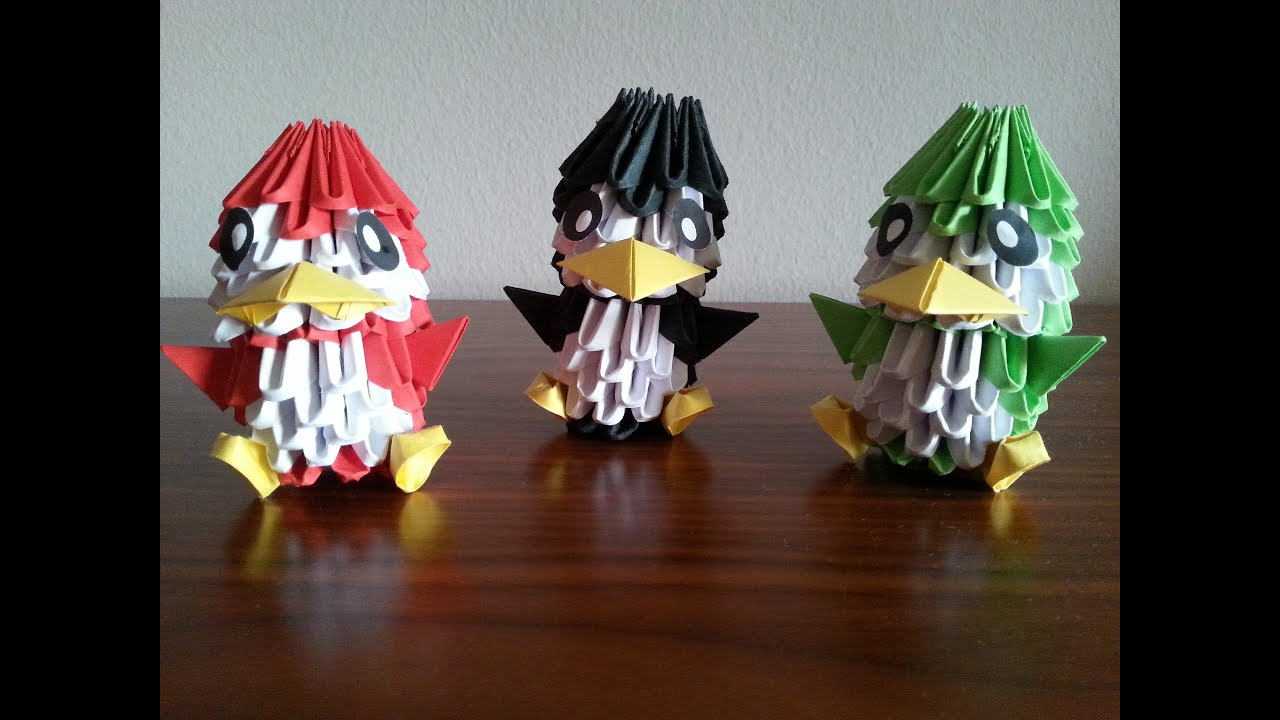 Como hacer un ping ino de origami 3d origami3 youtube - Como hacer figuras con chuches ...
