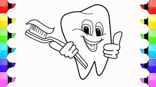 How to Draw Teeth, Toothpaste and Toothbrush - Coloring Pages for Children