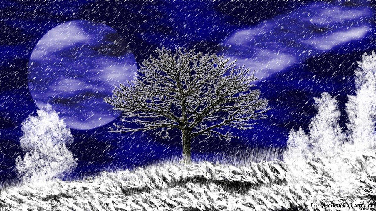 Winter Snow Tree Paint GIMP Digital Art Photoshop YouTube