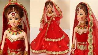 Barbie Lehenga| How to decorate a doll with Indian Bridal Dress & Jewellery|Doll Lehenga making|Doll