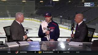 Josh Anderson joins Blue Jackets postgame desk for celebratory interview after win over Flyers