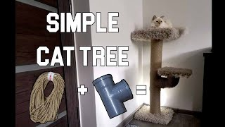 How To Make Easy Cat Scratching Post With PVC Pipes, Rope And Hot Glue