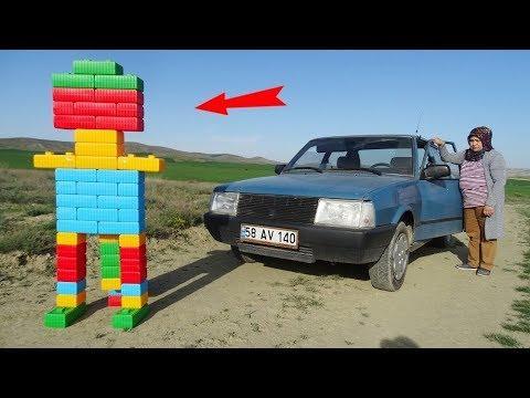 EXPERİMENT: Ayşe ARABAYI Robota Çarptı EZDİ,,automobile bump robot AYŞE  CRUSH