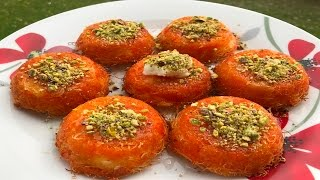 Mini kunafa filled with cream - Knefeh bil ashta - طريقة تحضير كنافة بالقشطة الصغيرة