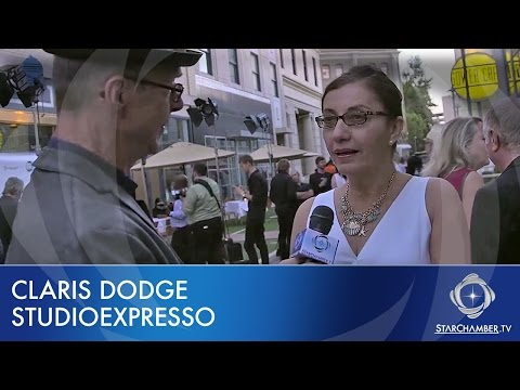 Studioexpresso owner Claris Dodge talks with Starchambertv at Pensado Awards