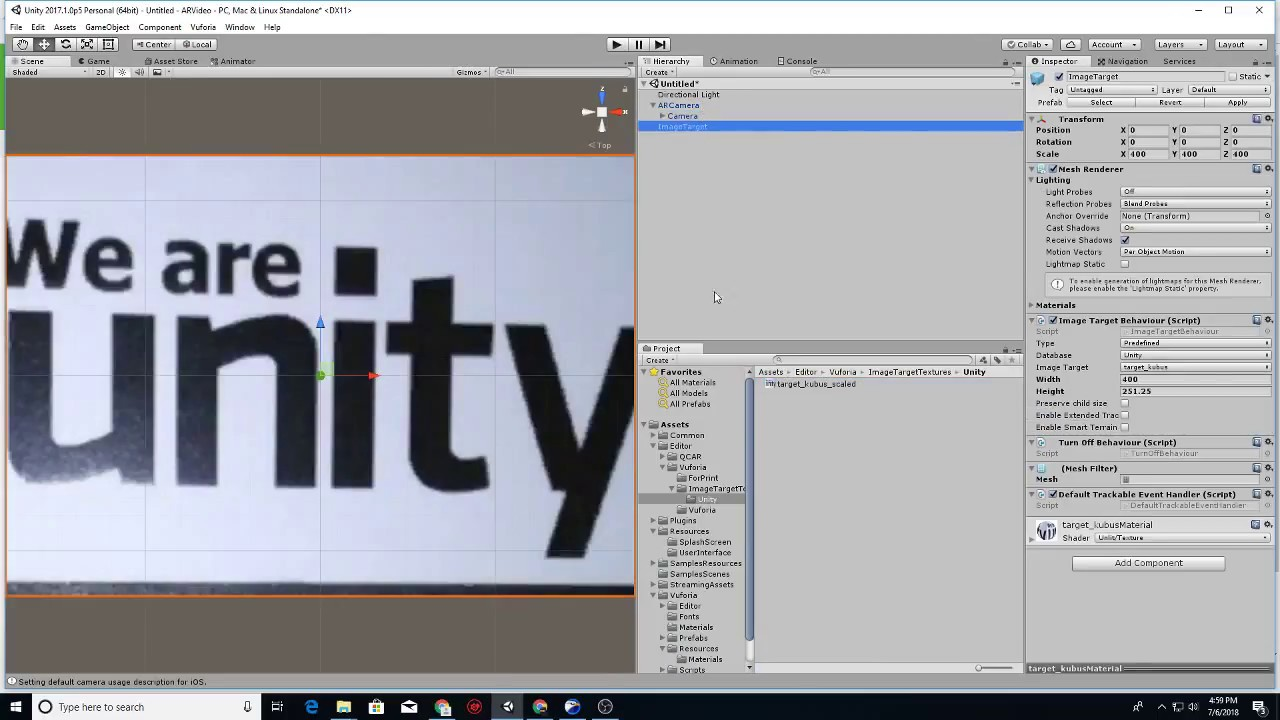 Trial and Error Augmented Reality Video Playback with Unity