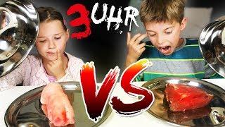 3 Uhr Nachts REAL FOOD vs. GUMMY FOOD - Herz und Schweine Fuß essen?! Lulu & Leon - Family and Fun