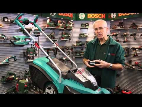 Benefits of: The Bosch cordless 36V Lithium-Ion battery lawnmower with Eric