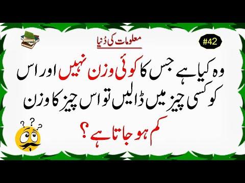 Urdu Paheliyan    Riddles In Urdu    GK    Maloomat Ki Dunya #42