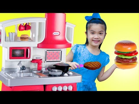 Hana Pretend Play w/ Hamburger & Hotdog Kitchen Food Cooking Kids Toys