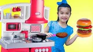 Hana Pretend Play w/ Hamburger & Hotdog Kitchen Food Cooking Kids Toys